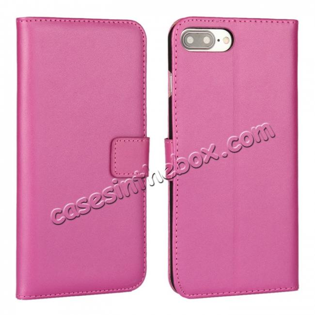 wholesale Real Genuine Leather Side Flip Wallet Case Cover for iPhone 8 4.7 inch - Rose