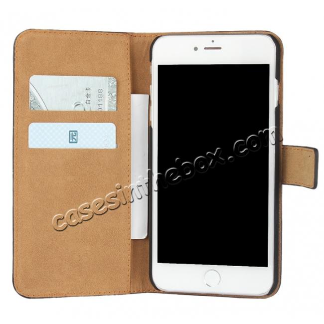 top quality Real Genuine Leather Side Flip Wallet Case Cover for iPhone 8 4.7 inch - White