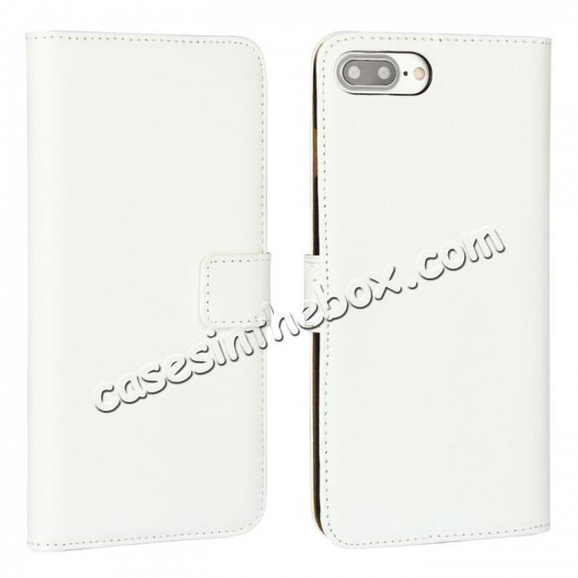wholesale Real Genuine Leather Side Flip Wallet Case Cover for iPhone 8 4.7 inch - White