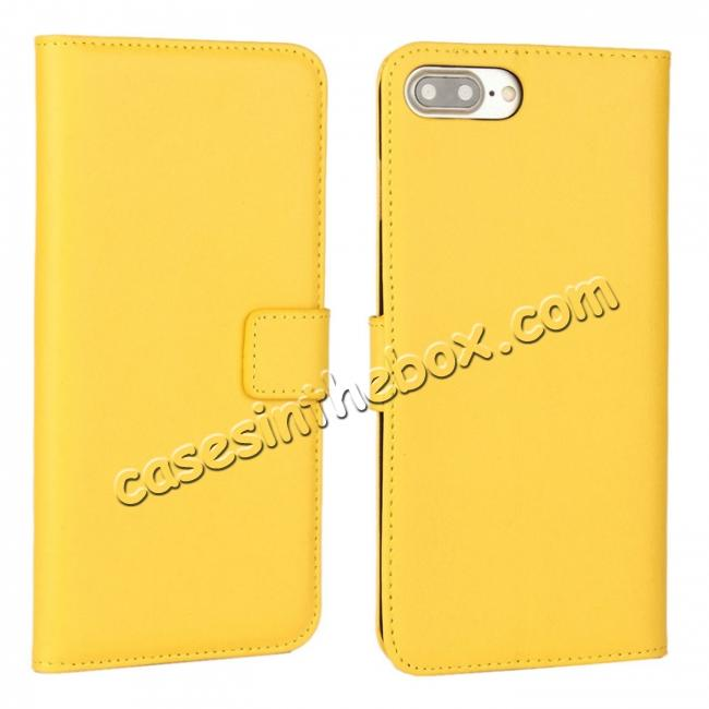 wholesale Real Genuine Leather Side Flip Wallet Case Cover for iPhone 8 4.7 inch - Yellow