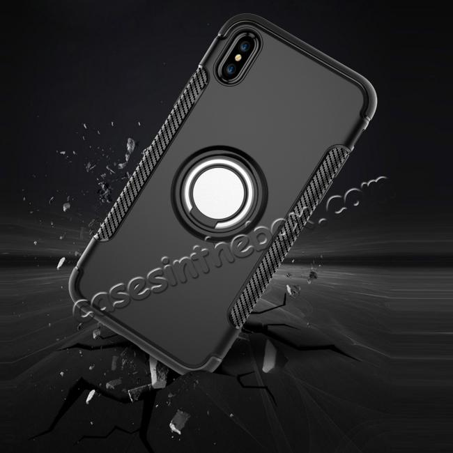 cheap Ring Stand Armor Hybrid Shockproof Protective Cover Phone Case For iPhone X - Dark blue