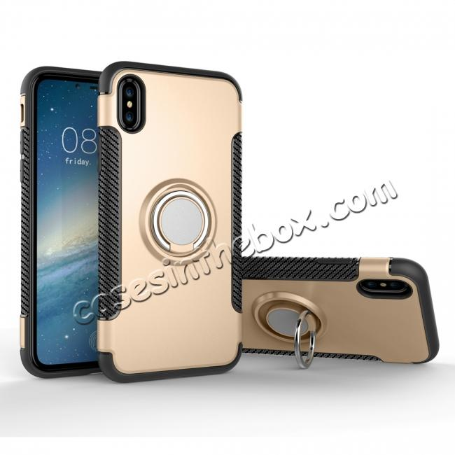 wholesale Ring Stand Armor Hybrid Shockproof Protective Cover Phone Case For iPhone X - Gold