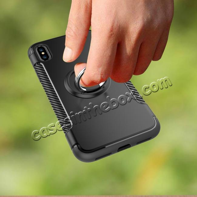 top quality Ring Stand Armor Hybrid Shockproof Protective Cover Phone Case For iPhone X - Gray