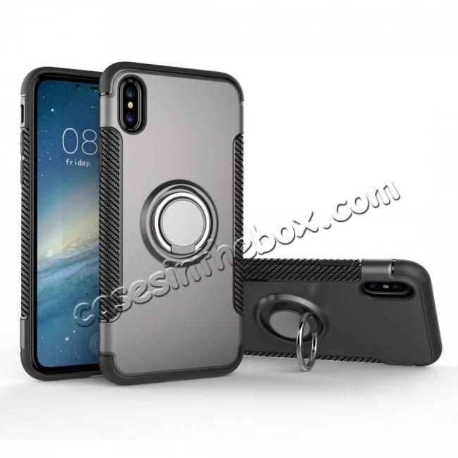 wholesale Ring Stand Armor Hybrid Shockproof Protective Cover Phone Case For iPhone X - Gray