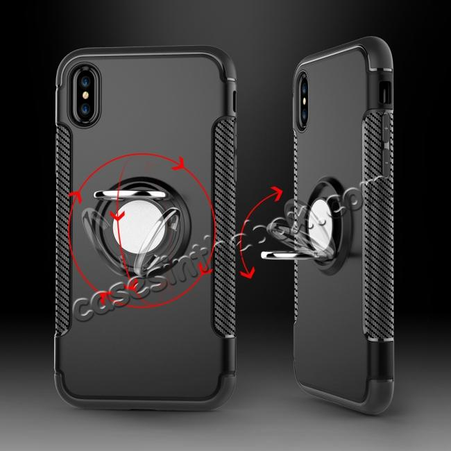 discount Ring Stand Armor Hybrid Shockproof Protective Cover Phone Case For iPhone X - Navy blue