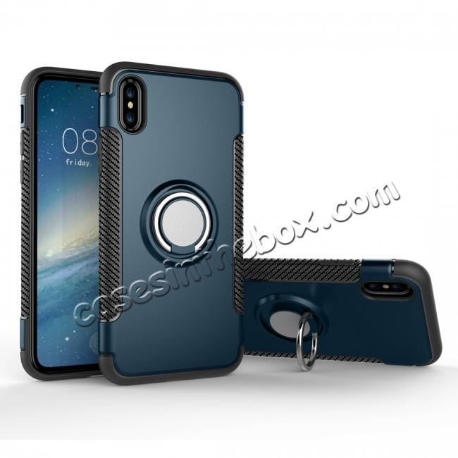 wholesale Ring Stand Armor Hybrid Shockproof Protective Cover Phone Case For iPhone X - Navy blue