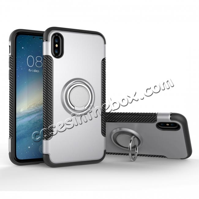 wholesale Ring Stand Armor Hybrid Shockproof Protective Cover Phone Case For iPhone X - Silver