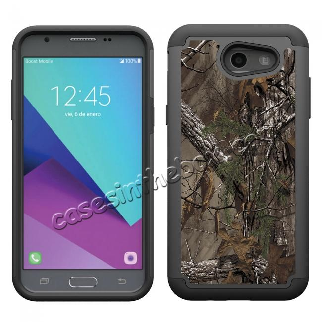 discount Rugged Armor Dual Layer Protective Case for Samsung Galaxy J3 Emerge / J3 Prime - Camo Tree