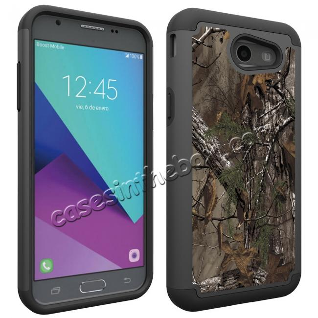 cheap Rugged Armor Dual Layer Protective Case for Samsung Galaxy J3 Emerge / J3 Prime - Camo Tree