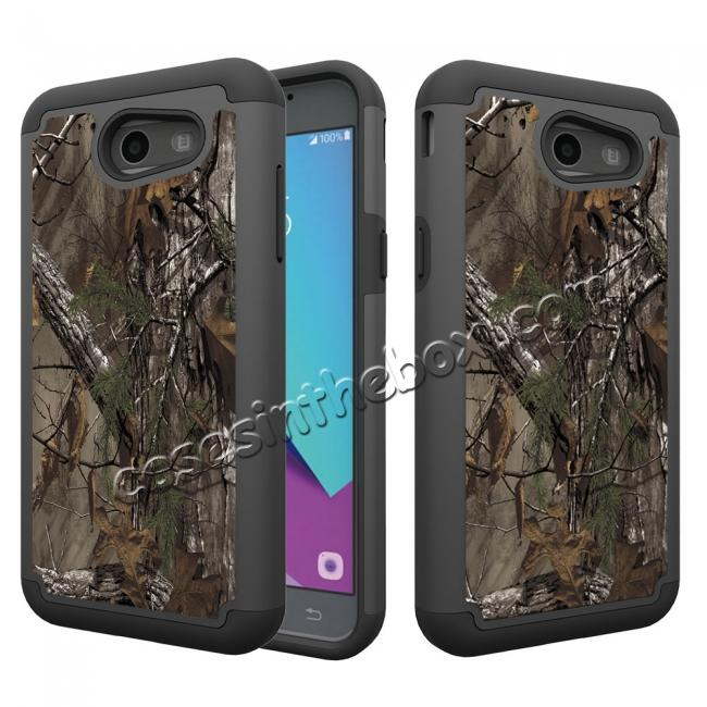 wholesale Rugged Armor Dual Layer Protective Case for Samsung Galaxy J3 Emerge / J3 Prime - Camo Tree