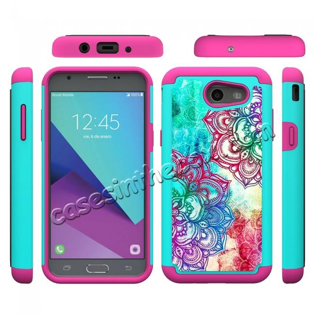 top quality Rugged Armor Dual Layer Protective Case for Samsung Galaxy J3 Emerge / J3 Prime - Teal Flower