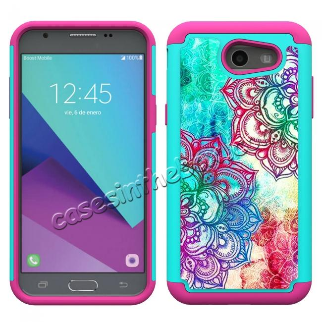 discount Rugged Armor Dual Layer Protective Case for Samsung Galaxy J3 Emerge / J3 Prime - Teal Flower