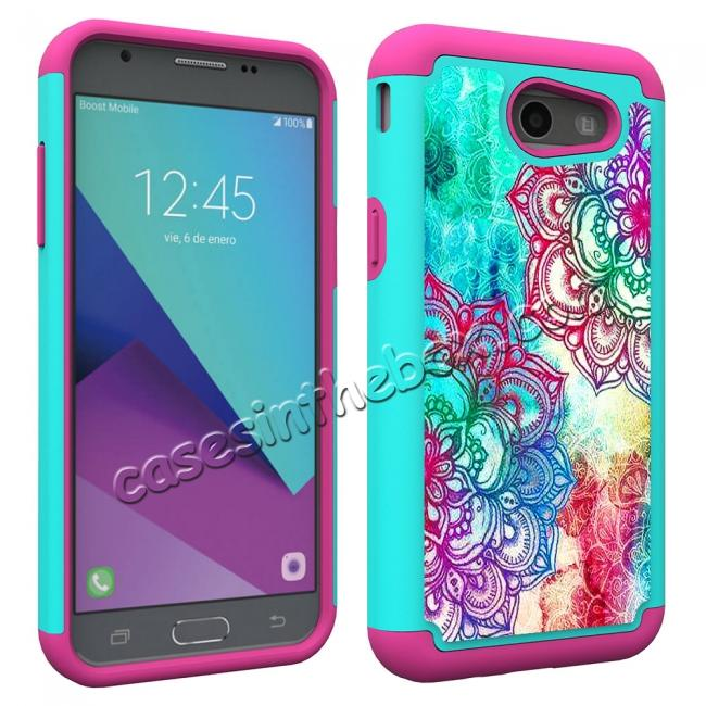 cheap Rugged Armor Dual Layer Protective Case for Samsung Galaxy J3 Emerge / J3 Prime - Teal Flower