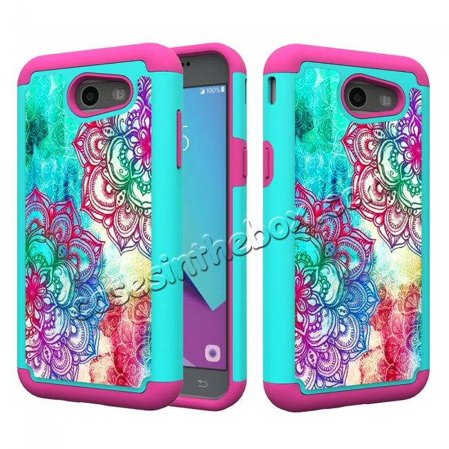 wholesale Rugged Armor Dual Layer Protective Case for Samsung Galaxy J3 Emerge / J3 Prime - Teal Flower