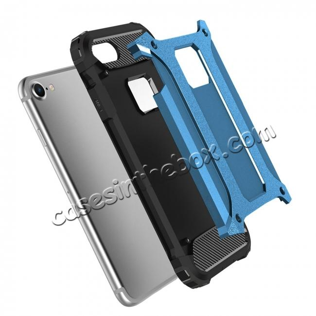 discount Shockproof Dual-layer Armor Hybrid Protective Case for Apple iPhone 8 4.7inch - Blue