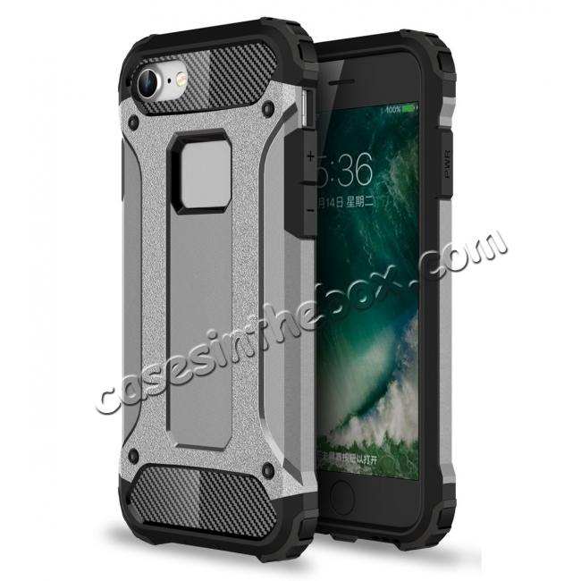 wholesale Shockproof Dual-layer Armor Hybrid Protective Case for Apple iPhone 8 4.7inch - Gray