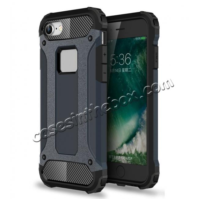 wholesale Shockproof Dual-layer Armor Hybrid Protective Case for Apple iPhone 8 4.7inch - Navy blue