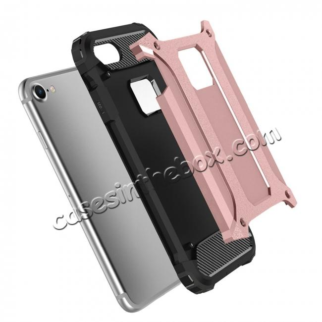 discount Shockproof Dual-layer Armor Hybrid Protective Case for Apple iPhone 8 4.7inch - Rose gold