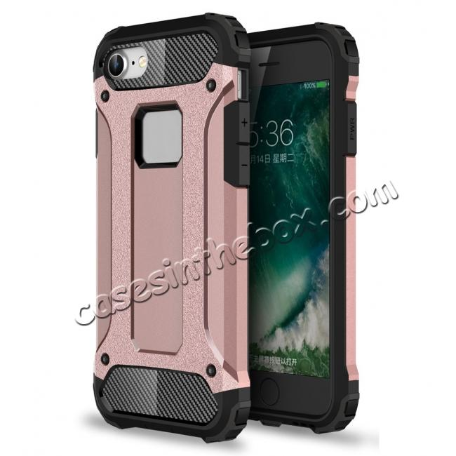 wholesale Shockproof Dual-layer Armor Hybrid Protective Case for Apple iPhone 8 4.7inch - Rose gold