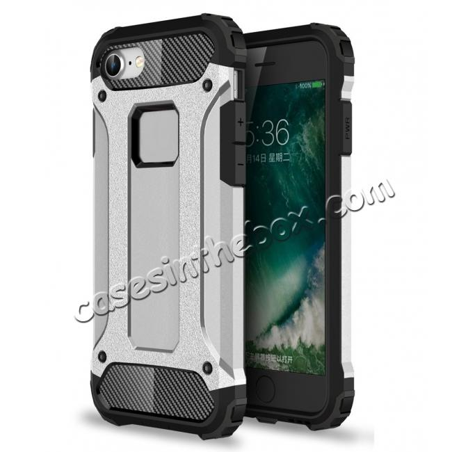 wholesale Shockproof Dual-layer Armor Hybrid Protective Case for Apple iPhone 8 4.7inch - Silver