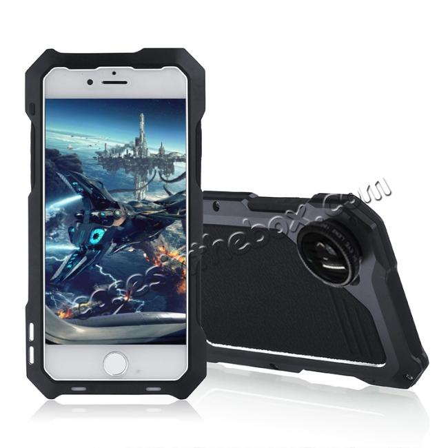 wholesale Shockproof Gorilla Glass Flim Metal Case Cover with Camera Lens For iPhone 8 4.7inch - Black