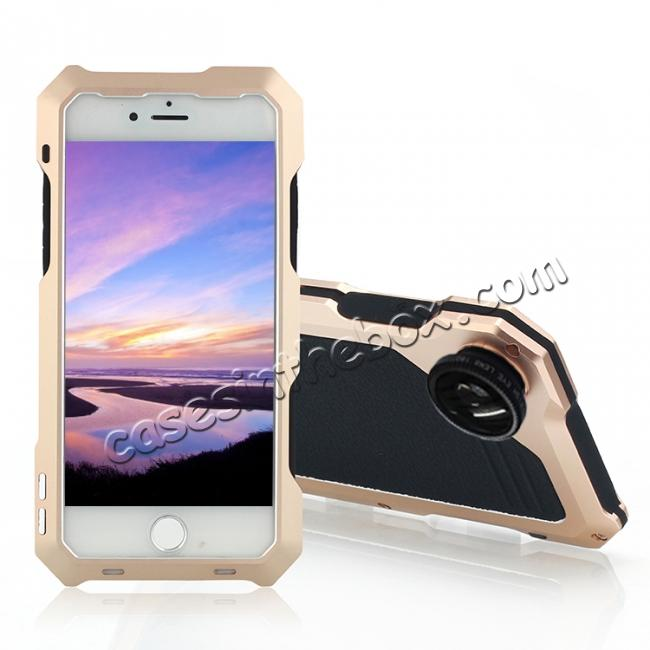 wholesale Shockproof Gorilla Glass Flim Metal Case Cover with Camera Lens For iPhone 8 4.7inch - Gold
