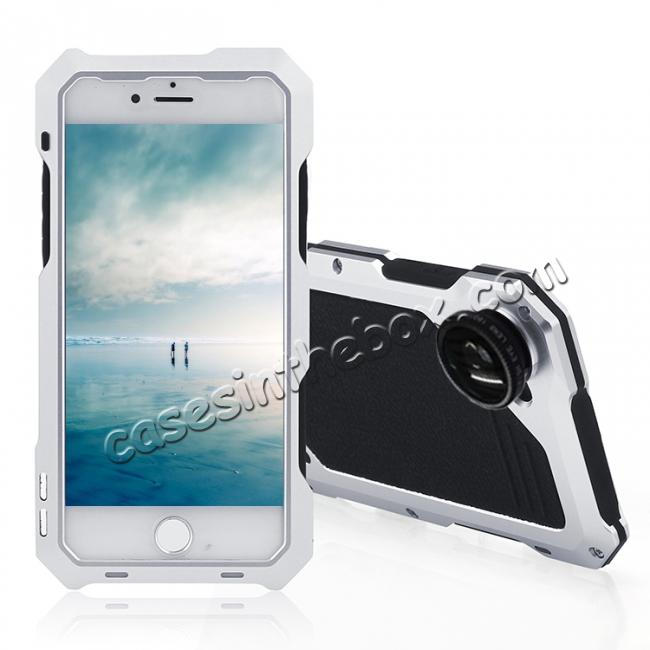 wholesale Shockproof Gorilla Glass Flim Metal Case Cover with Camera Lens For iPhone 8 4.7inch - Silver