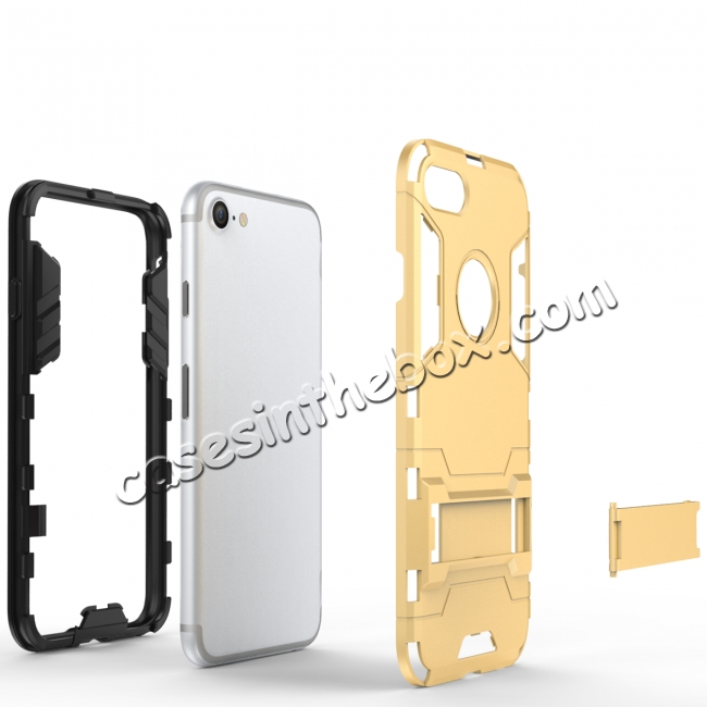 best price Slim Armor Shockproof Kickstand Protective Case for iPhone 8 4.7inch - Gold