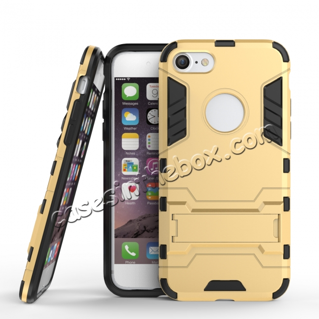 wholesale Slim Armor Shockproof Kickstand Protective Case for iPhone 8 4.7inch - Gold