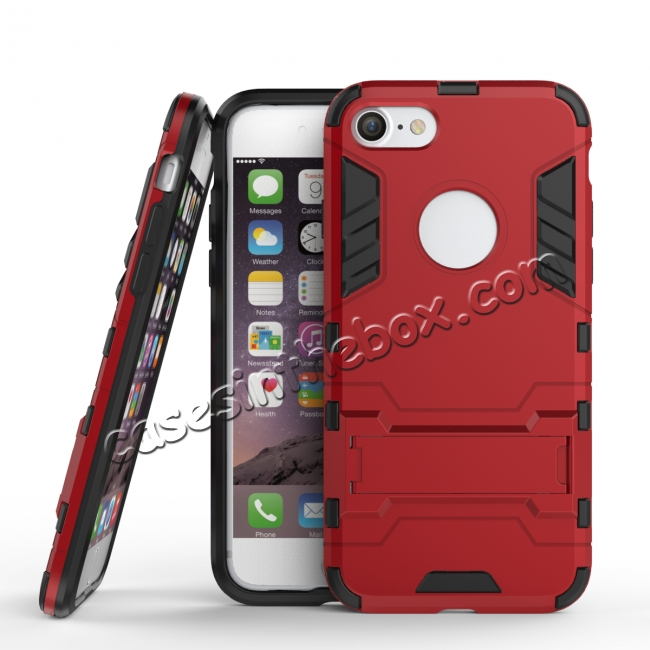 wholesale Slim Armor Shockproof Kickstand Protective Case for iPhone 8 4.7inch - Red