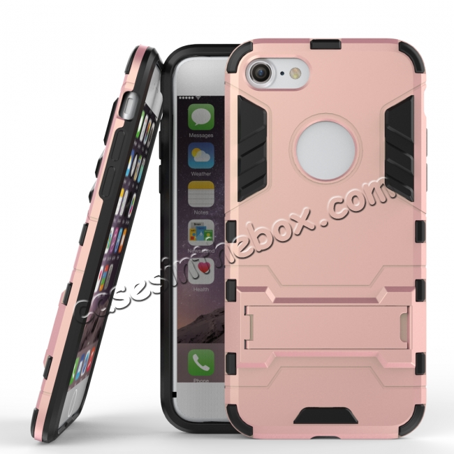 wholesale Slim Armor Shockproof Kickstand Protective Case for iPhone 8 4.7inch - Rose gold
