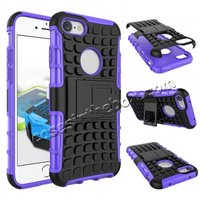 wholesale Tough Armor Shockproof Hybrid Dual Layer Kickstand Protective Case for iPhone 8 4.7inch - Purple
