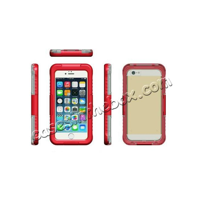 discount Waterproof Shockproof Dirtproof Hard Case Cover for iPhone 8 Plus 5.5 inch - Red