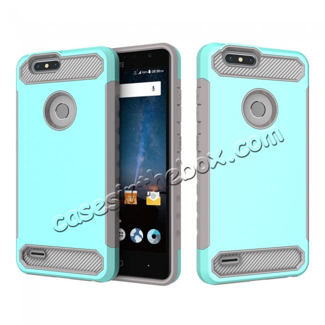 wholesale Rugged Dual Layer Hybrid Shockproof Defender Phone Case Cover for ZTE Blade Z MAX - Teal&Gray