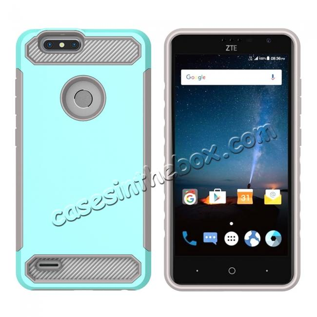discount Rugged Dual Layer Hybrid Shockproof Defender Phone Case Cover for ZTE Blade Z MAX - Teal&Gray