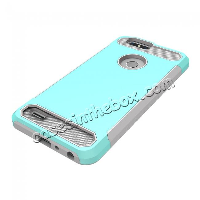 top quality Rugged Dual Layer Hybrid Shockproof Defender Phone Case Cover for ZTE Blade Z MAX - Teal&Gray