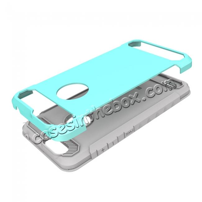 best price Rugged Dual Layer Hybrid Shockproof Defender Phone Case Cover for ZTE Blade Z MAX - Teal&Gray
