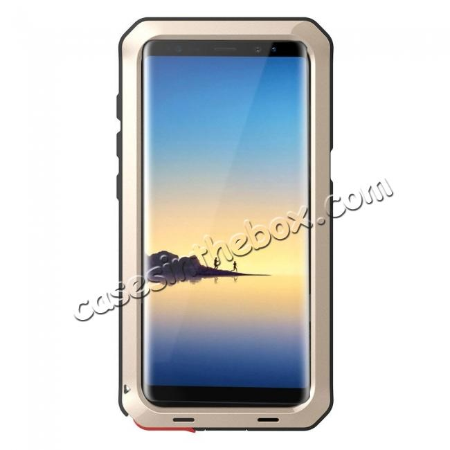 discount Aluminum Metal Shockproof Heavy Duty Cover Case for Samsung Galaxy Note 8 - Gold