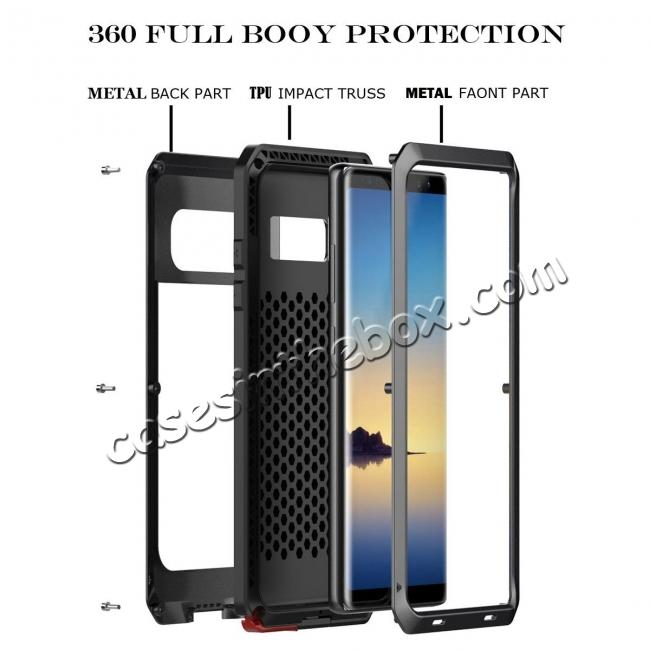 cheap Aluminum Metal Shockproof Heavy Duty Cover Case for Samsung Galaxy Note 8 - Gold