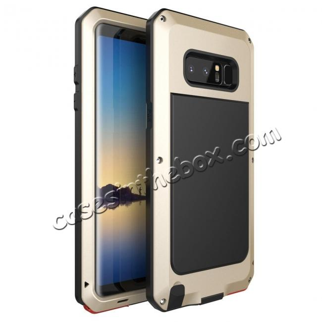 wholesale Aluminum Metal Shockproof Heavy Duty Cover Case for Samsung Galaxy Note 8 - Gold