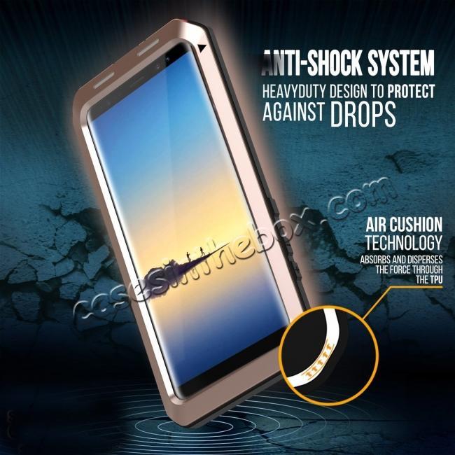 on sale Aluminum Metal Shockproof Heavy Duty Cover Case for Samsung Galaxy Note 8 - Gold