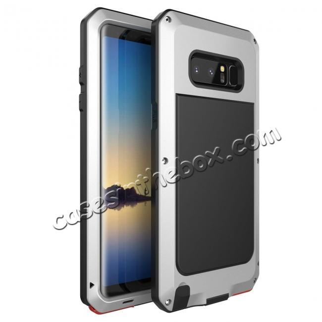 wholesale Aluminum Metal Shockproof Heavy Duty Cover Case for Samsung Galaxy Note 8 - Silver