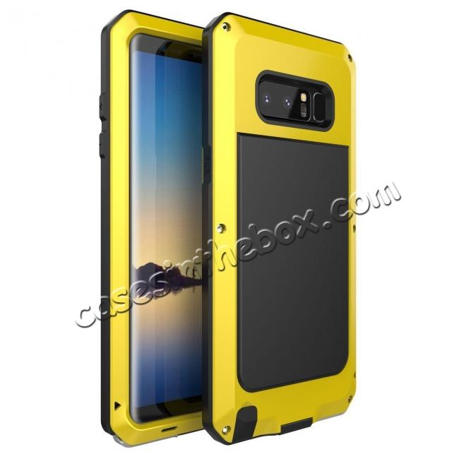 wholesale Aluminum Metal Shockproof Heavy Duty Cover Case for Samsung Galaxy Note 8 - Yellow