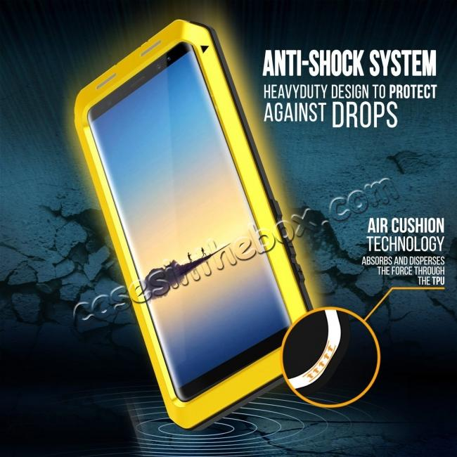 on sale Aluminum Metal Shockproof Heavy Duty Cover Case for Samsung Galaxy Note 8 - Yellow