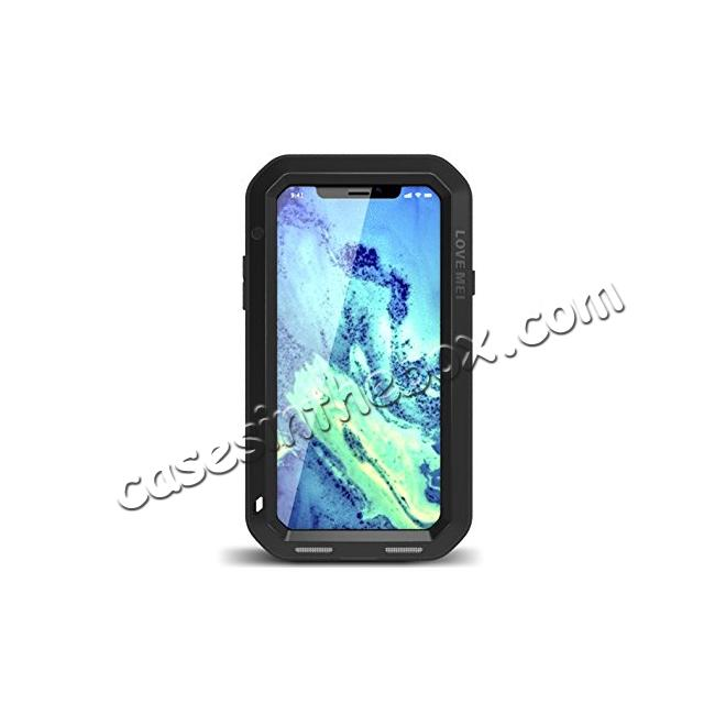 wholesale Aluminum Metal Shockproof Waterproof Glass Case Cover for iPhone X - Black