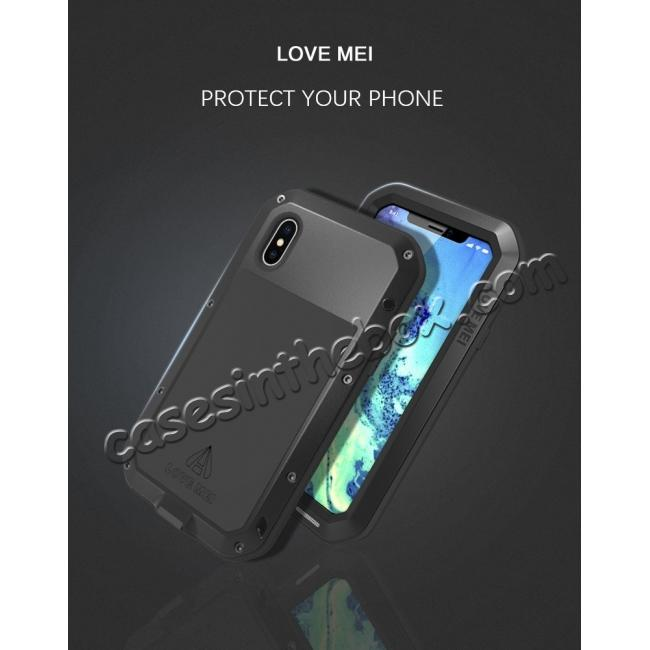 on sale Aluminum Metal Shockproof Waterproof Glass Case Cover for iPhone X - Black