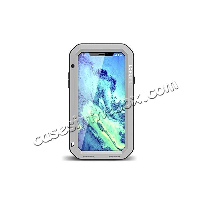 wholesale Aluminum Metal Shockproof Waterproof Glass Case Cover for iPhone X - Silver