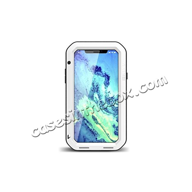 wholesale Aluminum Metal Shockproof Waterproof Glass Case Cover for iPhone X - White
