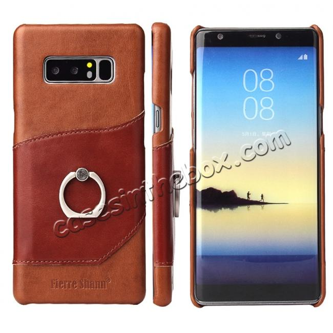 wholesale Genuine Real Leather Buckle Ring Back Case Cover for Samsung Galaxy Note 8 - Brown