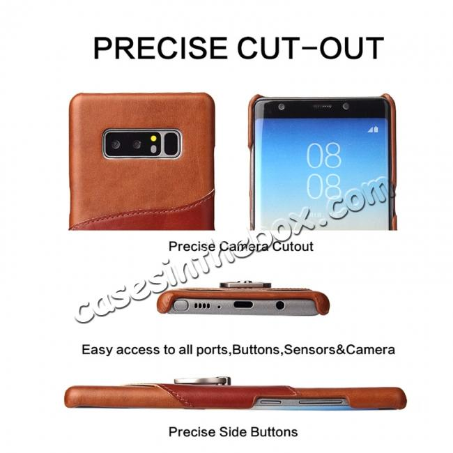 discount Genuine Real Leather Buckle Ring Back Case Cover for Samsung Galaxy Note 8 - Brown